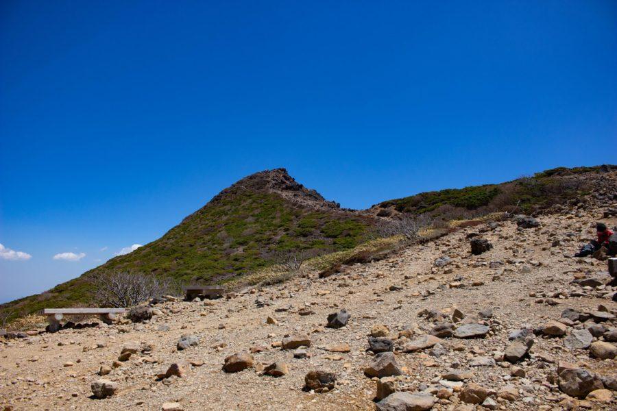 山頂を仰いだ写真