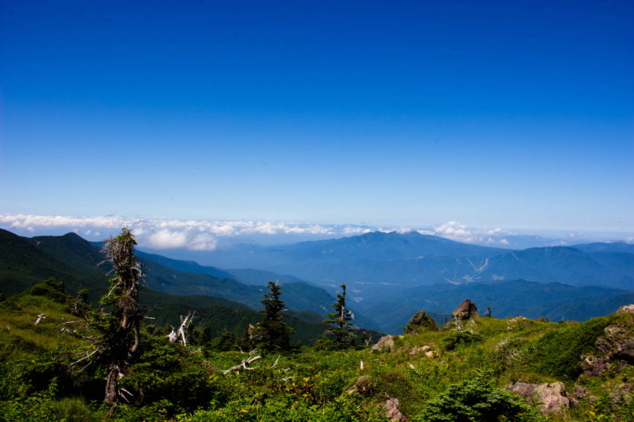 青い空と山々